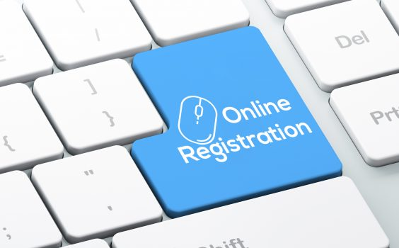 Modern Keyboard with Blue Online Registration Button