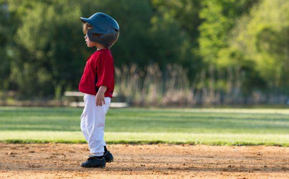 Youth Baseball Player On Base